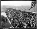 Crowd standing on the span of the Aurora Bridge, February 1932