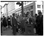 Demonstrators singing outside the British Consulate, March 20, 1946