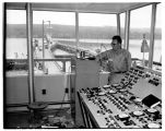 Man in control room of Hood Canal Bridge, October 1961