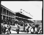 Longacres clubhouse and grandstand during race, ca. 1936