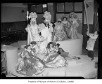 Showboat Theatre interior showing actors in costumes, University of Washington, Seattle, 1942
