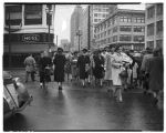 Christmas shoppers crossing Westlake Avenue, November 28, 1942