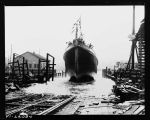 "Launching of the ocean tug ""Mahoe"" at Ballard, April 1925"
