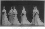 Bride and her wedding party, probably in Seattle, ca. 1910