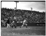 Seattle Indians batter swinging at ball, August 1934