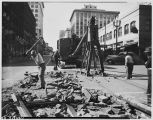 Removing streetcar tracks on Third Avenue, May 11, 1943