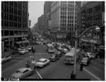 Traffic merging at Fourth and Westlake Avenues, July 1955