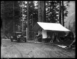 Temporary entrance to Mount Rainier at Carbon River, ca. 1925