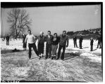 Ice skaters on frozen pond, January 1937