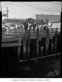Robert Jack Blair murder investigation scene showing men at a pier watching a diver, Seattle, 1958