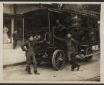 Three delivery men with Rainier beer truck, ca. 1905