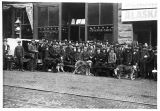 Dog team in front of Seattle Times offices, ca. 1898