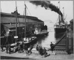 "Steamship ""Queen"" and schooner at Seattle pier, ca. 1898"