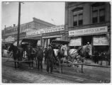 Carriages outside gold rush outfitters, ca. 1898
