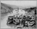 Three steamboats at the Miles Canyon tramway, ca. 1898