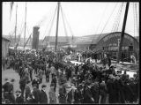 "Crowd with steamship ""Australia"" at Seattle pier, ca. 1898"