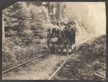 Northern Pacific railroad workers on handcar, ca. 1905