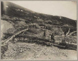 Miners and sluices on Bonanza Creek, ca. 1898