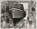 Launching of boat Warden Johnston at McNeil Island Penitentiary, Washington, May 1945