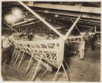 Wooden boats being built at shipyard, Vancouver, Washington, ca. 1917