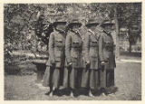 Army nurses in outdoor uniforms posing in Gramercy Park, New York City, May 1918