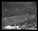 Don Budge and Ellsworth Vines in tennis game, Seattle, February 18, 1939