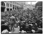 Jack Dempsey speaking to a crowd at Victory Square, Seattle, June 26, 1944