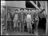 Five carpenters at construction site, Seattle, ca. 1906