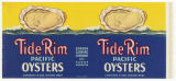 Tide Rim Pacific Oysters can label, ca. 1940s