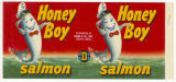 Honey Boy Salmon can label, ca. 1950s