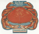 Frederick & Nelson Tea Room Sea Food Menu, ca. 1950