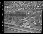 Aerial of Ballard Locks and Lockhaven Apartments from south, Seattle, 1949