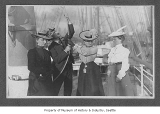 Annie and William Moran with two other women at Moran Brothers shipyard, Seattle, ca. 1903