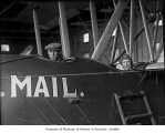 Eddie Hubbard and unidentified man in mail plane, Seattle, ca. 1919