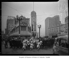 Traffic death thermometer with the Traffic Safety Patrol, drum majorettes and a crowd in Seattle,...
