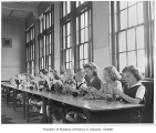 Whittier School students learning to knit, Seattle, 1946