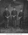 J.R. Berry, Charles A. Kinnear, and Ed T. Powell in military uniform, Seattle, ca. 1887