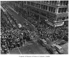Crowds at Fourth and Pike on V-J Day, Seattle,  August 14, 1945