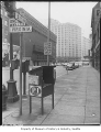 Seattle Post-Intelligencer newspaper box at Fifth and Virginia, Seattle, 1957