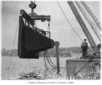 Lake Washington floating bridge anchor suspended over water, Seattle, July 16, 1939
