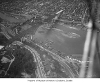 Aerial of Aurora Bridge near completion, Seattle, ca. 1932