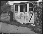 Graffiti on Japanese American home, Seattle, 1945