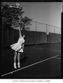 Tennis player June Fitzpatrick at the Seattle Tennis Club, 1955