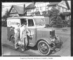 Carnation Milk truck and milkman, Seattle, 1945