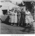 Lake Sawyer Garden Club, in front of U.S. Navy car, 1954