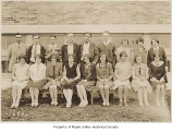 Tahoma High School class of 1929 outside school, Maple Valley, 1929