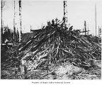 Logs to be burned, Maple Valley, 1910