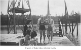 Gaffney's Lake Wilderness Resort, with Mary Tedesco and Maxine Simon Haugen near diving platforms,...