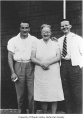 Frank and Bill Primozich with their mother Francis, Ravensdale, 1947