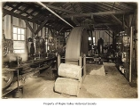 Wood and Iverson Mill engine interior showing J.A. Evenson, Hobart, n.d.